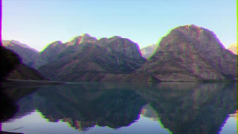 Glitch effect. Dawn over the mountain lake. Time Lapse. Tajikistan, IskanderKul Footage