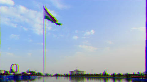 Glitch effect. Palais des Nations and flagpole with a flag. Dushanbe, Tajikistan. Time Lapse Archivo