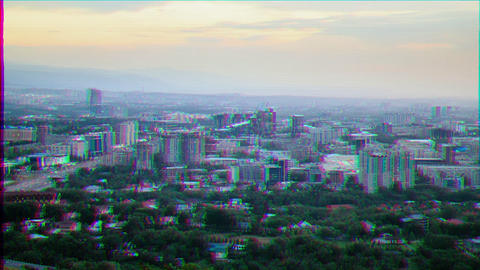 Glitch effect. Night on the town. Almaty, Kazakhstan Live Action