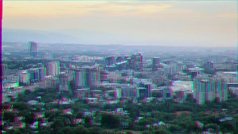Glitch effect. In the city the night. Almaty, Kazakhstan Footage