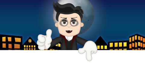 Ben Boy Funny Cartoon Character Toon Vampire with blue town background Animation
