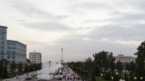Glitch effect. Fountains in the center of Dushanbe at sunset. Tajikistan Live Action