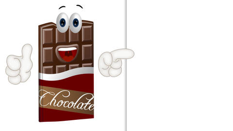 Funny Cartoon Chocolate with empty background Animation