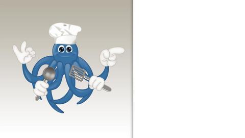 Funny squid octopus cook restaurant seafood ocean cartoon Animation