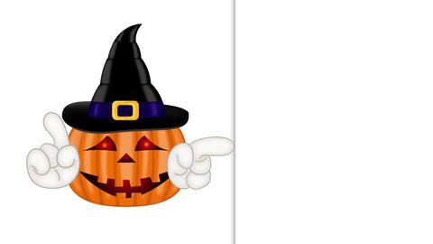 Halloween 2D flat animation: cartoon autumn pumpkin showing to empty placeholder Animation