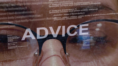 Advice text on background of female developer Archivo