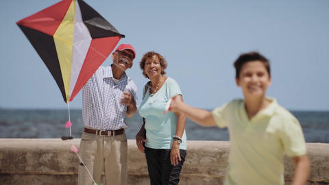13-Family Boy And Grandparents Flying Kite Near Sea Slowmotion Footage