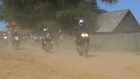 Group of bikers who hit the road leaving clouds of dust in their wake 17 Footage