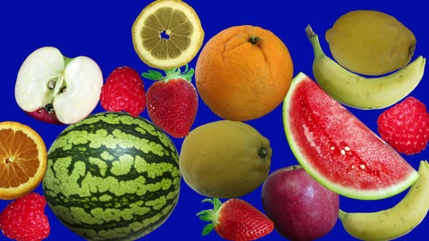 Fruits appearing on background blue screen CG動画素材