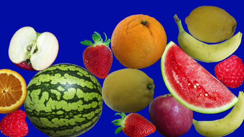 Falling fruits on background blue screen Animation