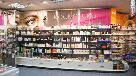 Drugstore,cosmetics and healthcare interior Footage