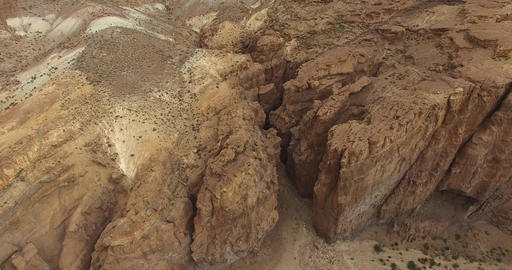 Aerial drone scene of big canyon. Piedra parada, Argentina. Camera goes from gre Footage
