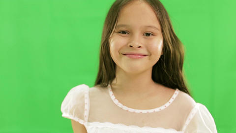 Young girl smiling green screen 1 Footage