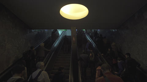 People On Moving Escalator Footage