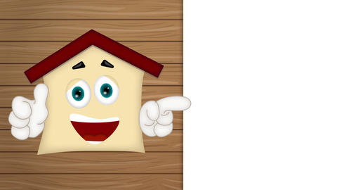 funny cartoon house with hands showing to empfy placeholder Animation