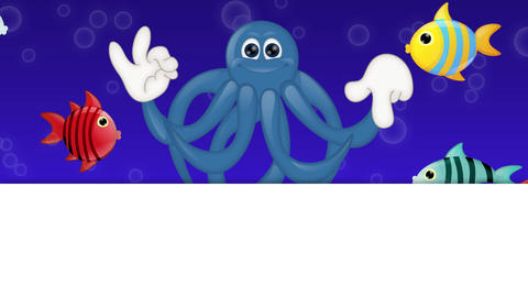 Funny cartoon squid octopus with hands and eyes showing to empty plcaeholder Animation