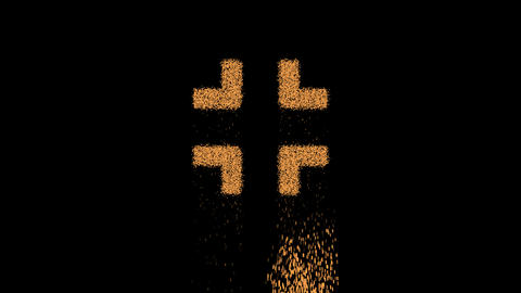 Symbol compress appears from crumbling sand. Then crumbles down. Alpha channel Premultiplied - Animation