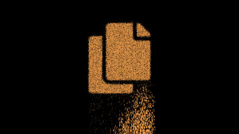 Symbol copy appears from crumbling sand. Then crumbles down. Alpha channel Premultiplied - Matted Animation