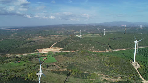Aerial of windmills or wind turbine on wind farm Archivo