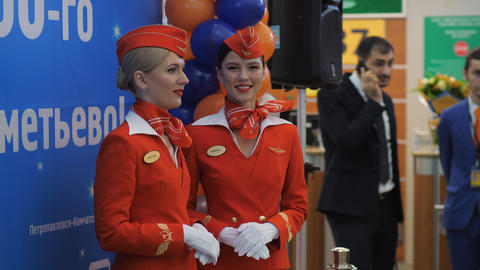 Pretty stewardesses of Aeroflot airlines, Russia Footage