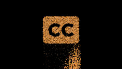 Symbol closed captioning appears from crumbling sand. Then crumbles down. Alpha channel Animation