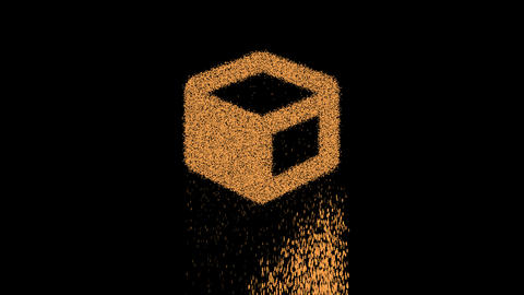 Symbol cube appears from crumbling sand. Then crumbles down. Alpha channel Premultiplied - Matted Animation