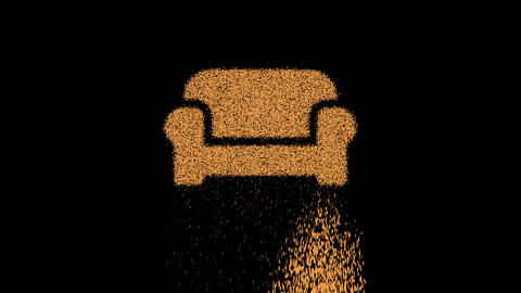 Symbol couch appears from crumbling sand. Then crumbles down. Alpha channel Premultiplied - Matted Animation