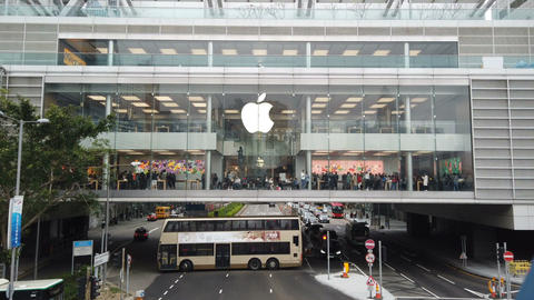 Apple Store in Central District, Hong Kong. Crowd people inside the Apple store Live Action