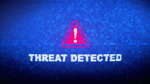 Threat Detected Text Digital Noise Twitch Glitch Distortion Effect Error Loop Live Action