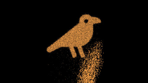 Symbol crow appears from crumbling sand. Then crumbles down. Alpha channel Premultiplied - Matted Animation