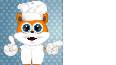 Marvin Cat Cook Funny Cartoon Comic Illustration with background Animation