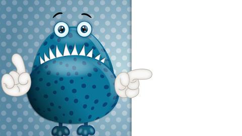Funny Monster Cartoon Character Illustration blue Animation