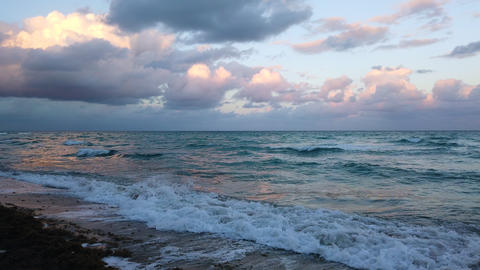 Miami Beach Ocean Waves At Sunset GIF