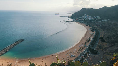 Teresitas beach Playa de las Teresitas. Time lapse aerial view. Santa Cruz de Footage