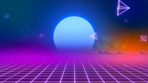 VJ Retro-Futuristic Horizon Animation