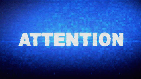 Attention Text Digital Noise Twitch Glitch Distortion Effect Error Animation Live Action