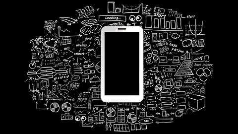White smartphone on infographics background CG動画素材