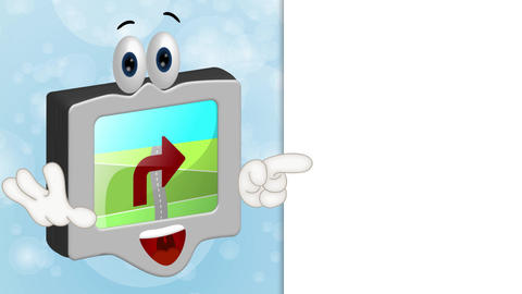 Funny Cartoon Navigation Device Animation