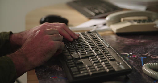 Male hands typing on a computer keyboard and touching the mouse Footage