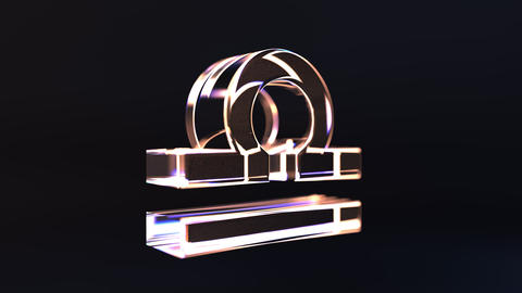 Rotating glass Libra Zodiac sign, loopable 3D animation Footage