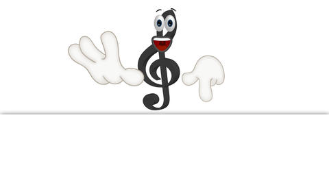 Funny Cartoon Clef Character showing to empty placeholder Animation