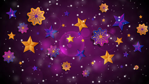 Bright abstract Christmas stars and snowflakes video animation CG動画素材