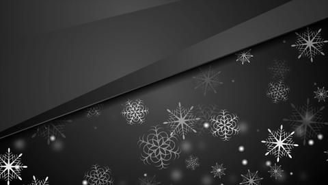 Black abstract Christmas snowflakes video animation Stock Video Footage