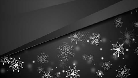 Black abstract Christmas snowflakes video animation Animation