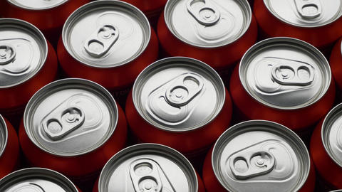 top view of red can of soda or beer rotate background Archivo