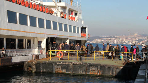 Passengers aboard the Bosphorus in Istanbul. Daily life in Istanbul. Turkey Footage