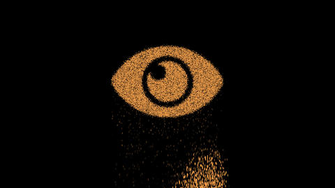 Symbol eye appears from crumbling sand. Then crumbles down. Alpha channel Premultiplied - Matted Animation
