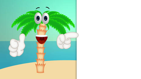 Funny palm cartoon beach with hands and eyes Animation