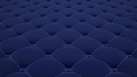 3D animation of flying a blue quilted velvet surface with light blue drawstrings. Looped video Animation