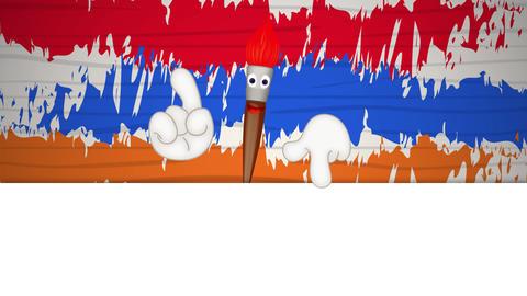 Funny paint brush cartoon illustration painting art artist Stock Video Footage